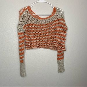 Free People Open Knit Crop Sweater Round Neck